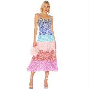 NEW Saloni Karen Dot Stripe Silk Midi Button Dress